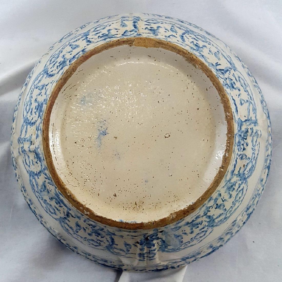 Very Large Blue Spongeware Bowl Ca 1880-1900 - 6