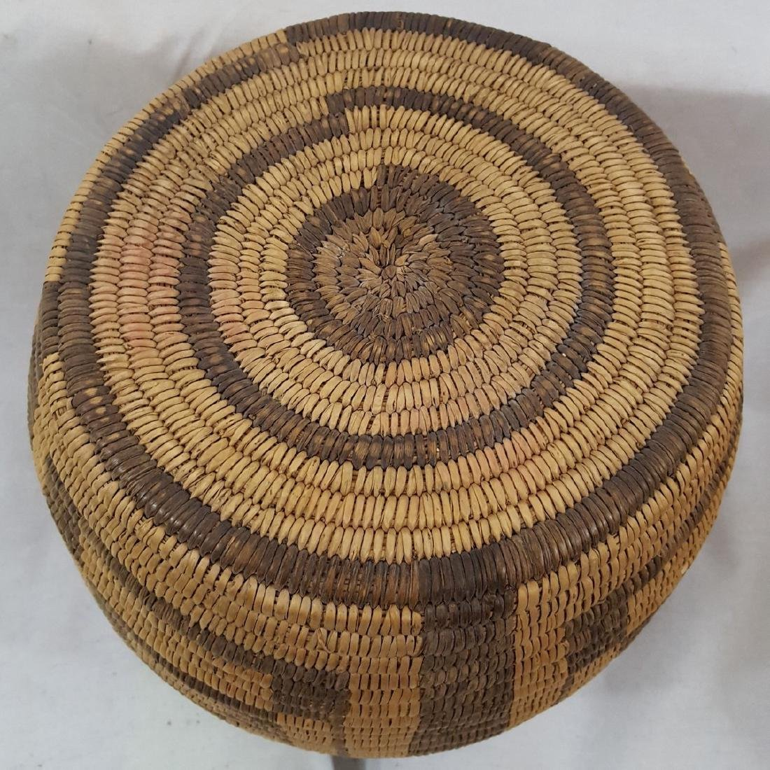 Tall Pima Indian Woven Basket Ca 1920's - 3