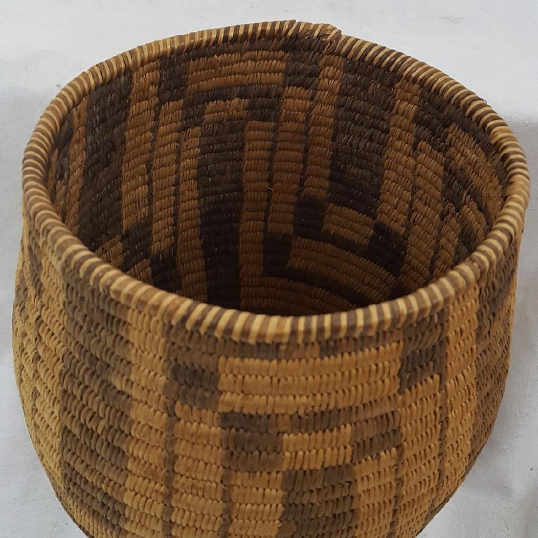 Tall Pima Indian Woven Basket Ca 1920's - 4