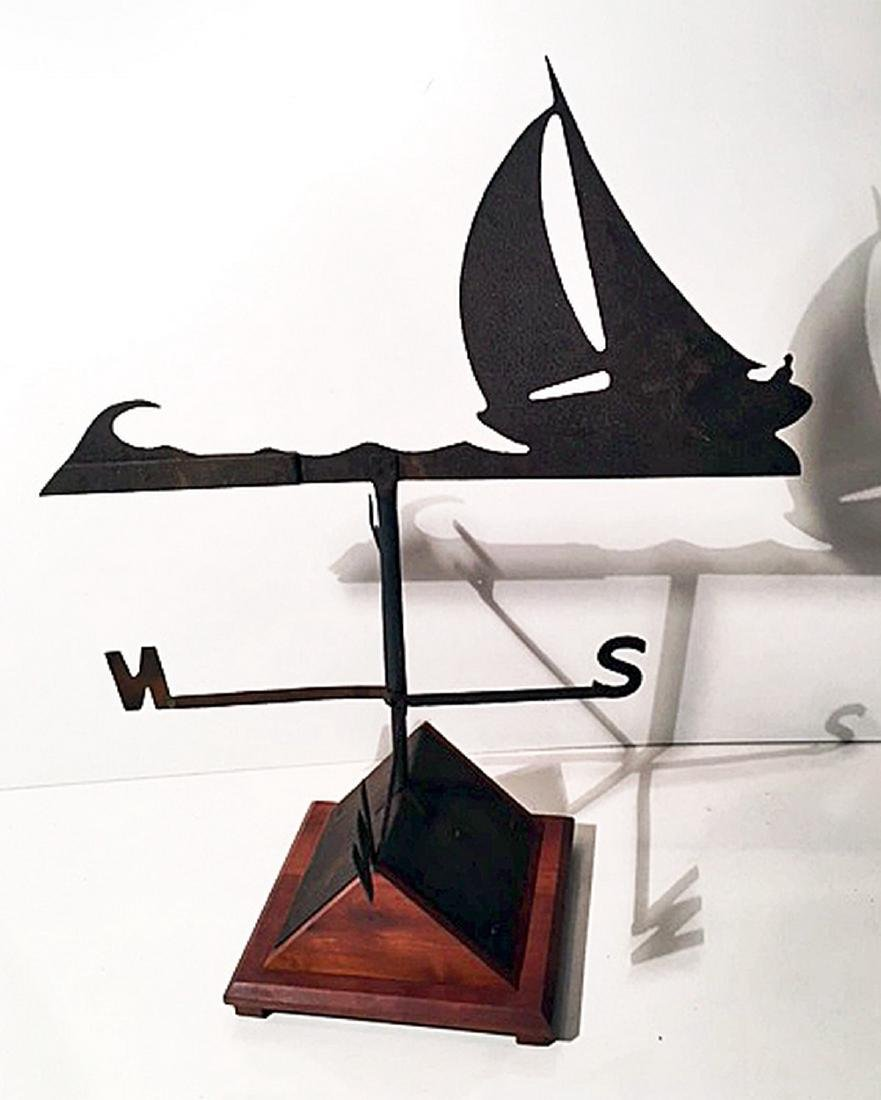 "Sloop Weathervane With ""Skipper"" Driving"