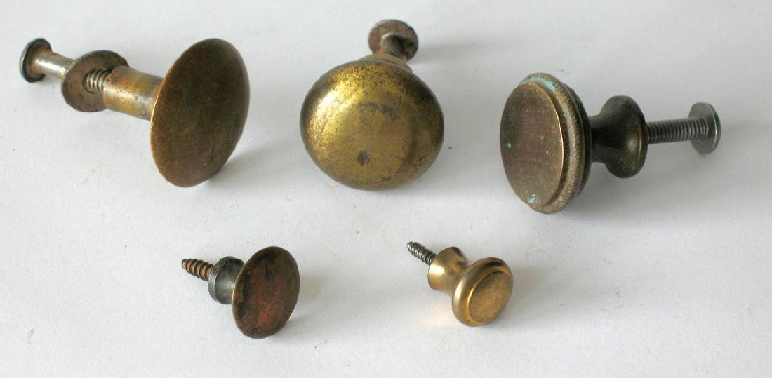 Group of Five Vintage Brass Knobs