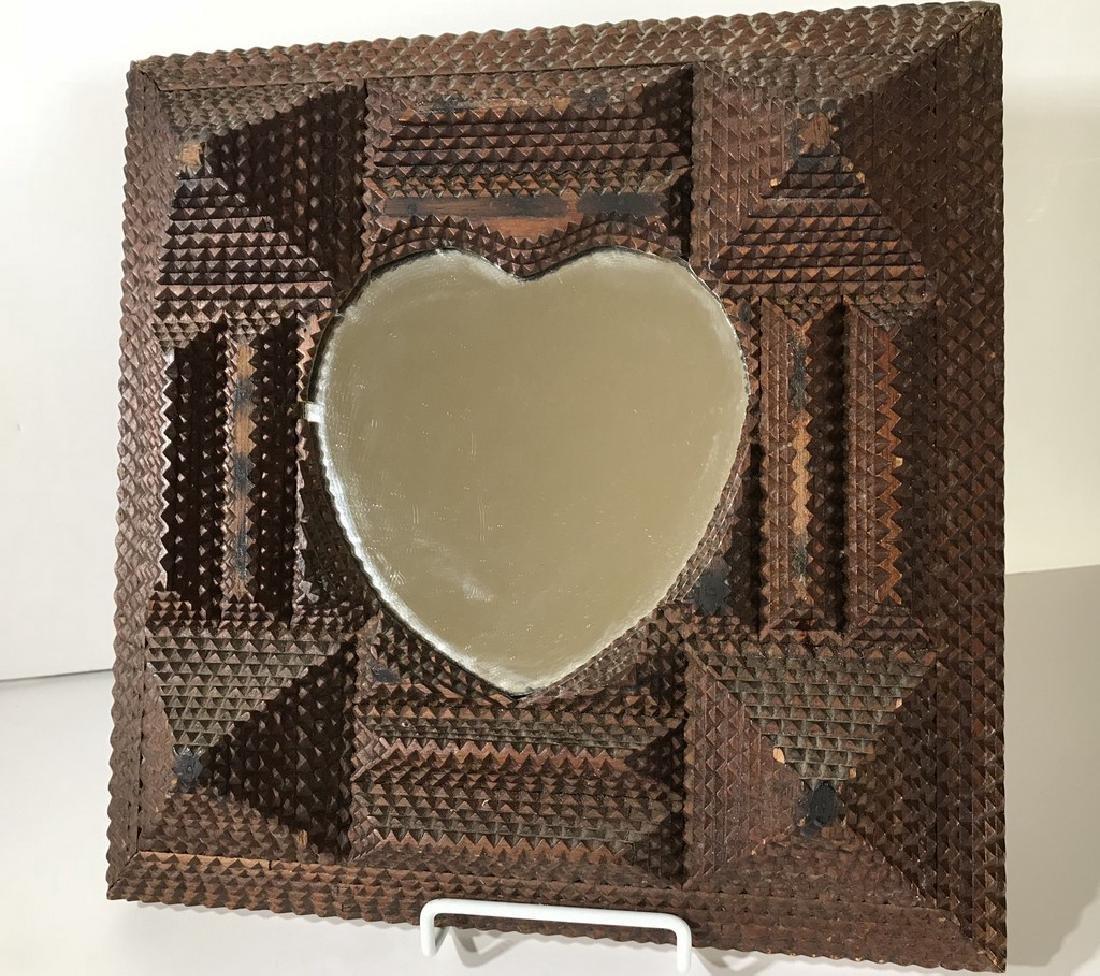Tramp Art Heart Mirror Frame