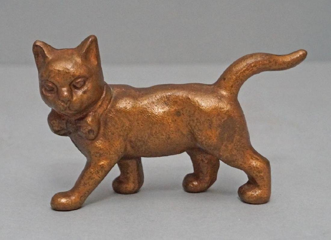 Antique Cat with Long Tail Cast Iron Paperweight Toy