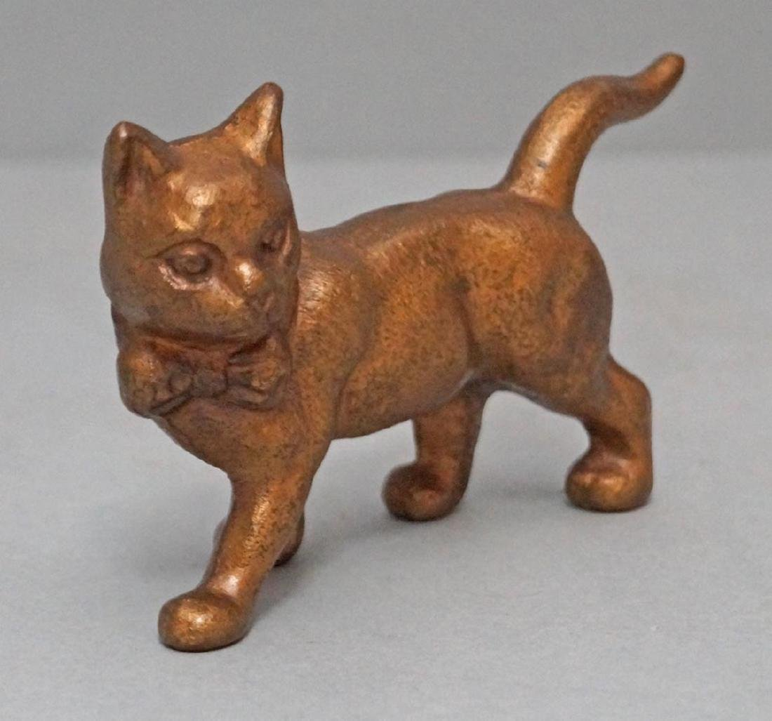 Antique Cat with Long Tail Cast Iron Paperweight Toy - 4