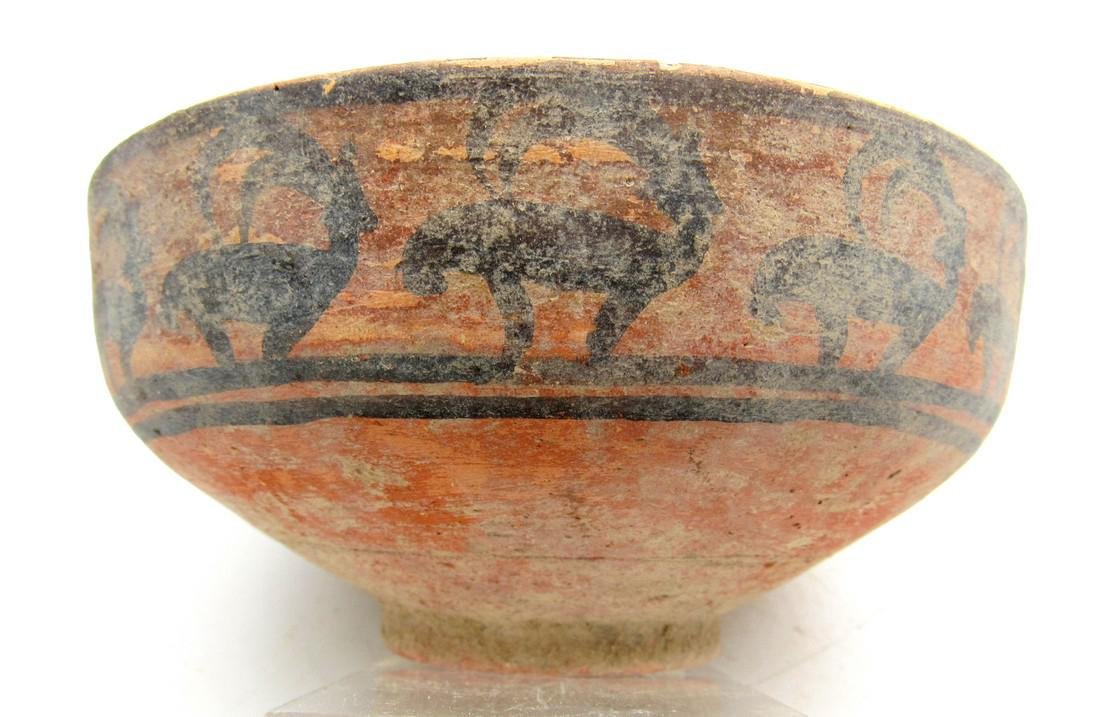 Ancient Indus Valley Terracotta Bowl with Deer Motif