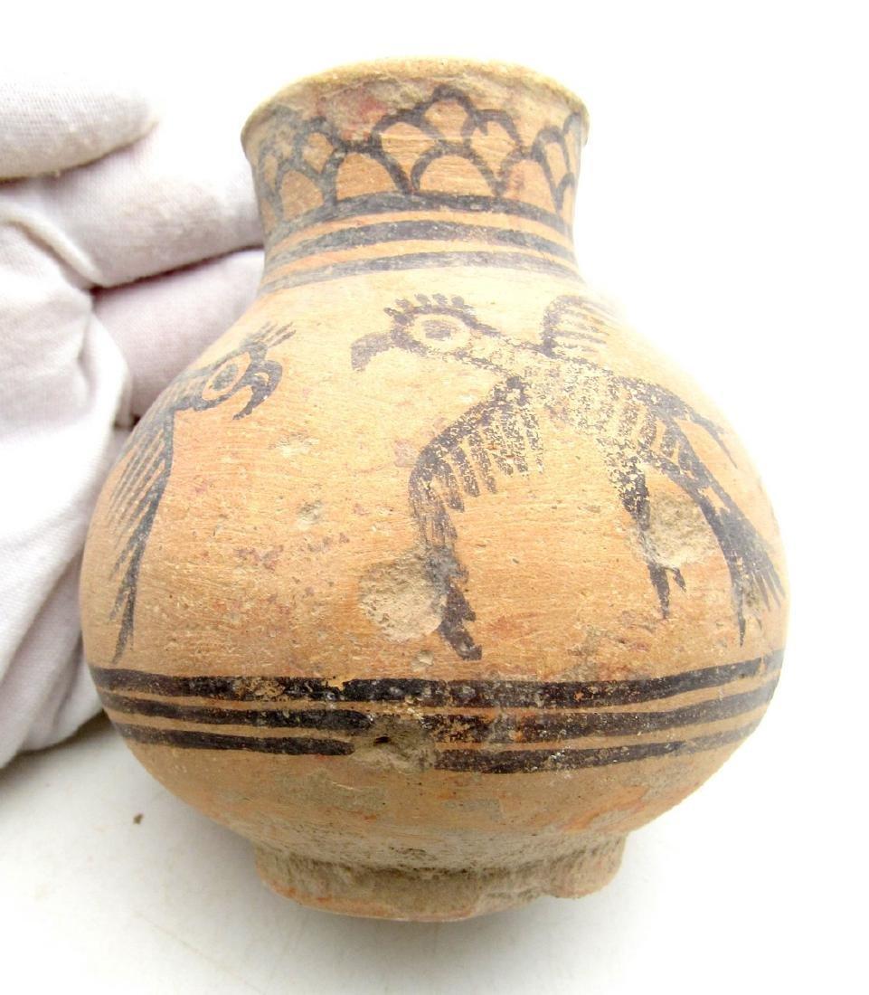 Ancient Indus Valley Terracotta Jar with Bird Motif
