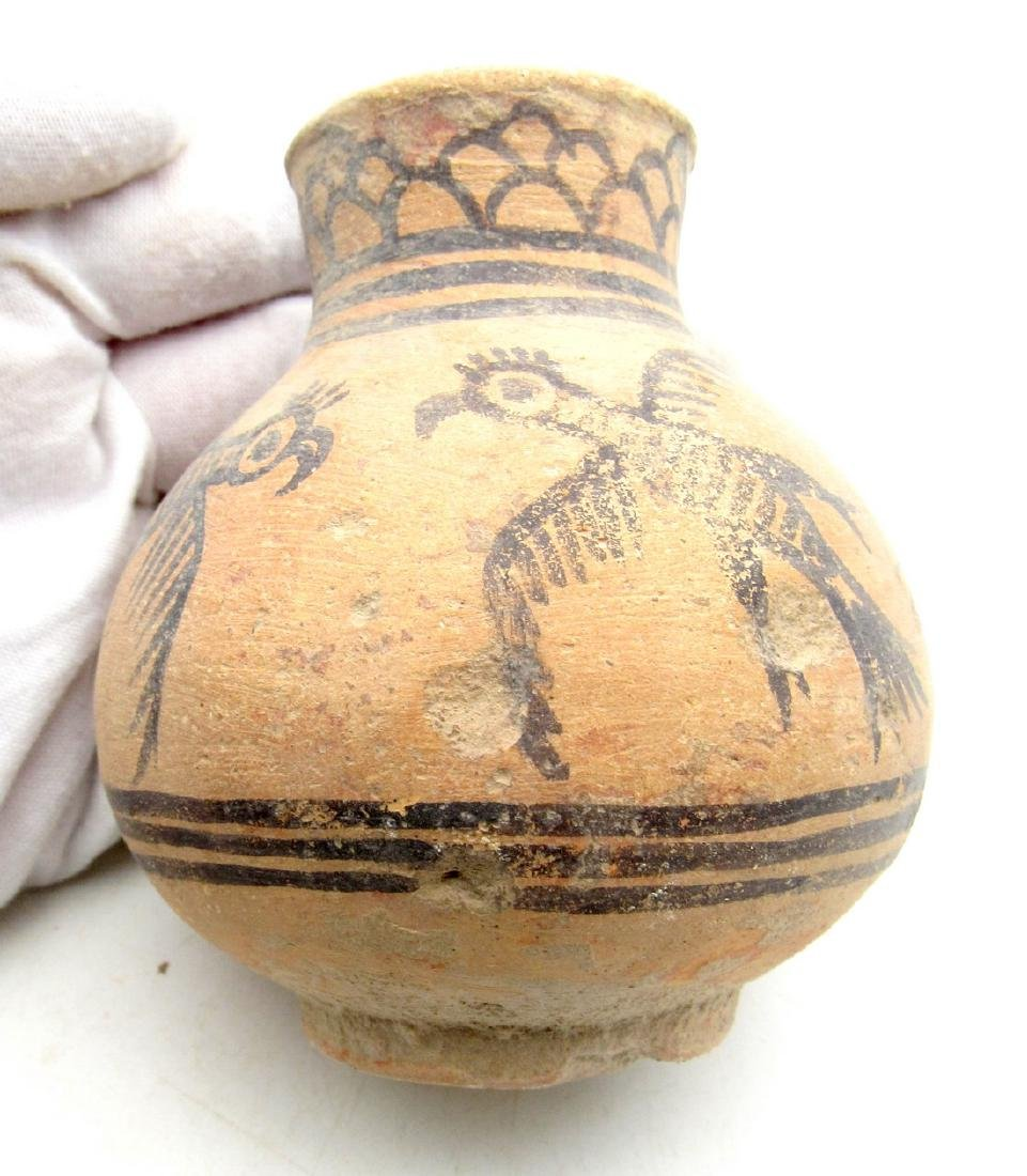 Ancient Indus Valley Terracotta Jar with Bird Motif