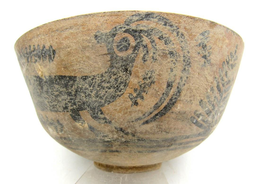 Ancient Indus Valley Terracotta Bowl with Ibex Motif