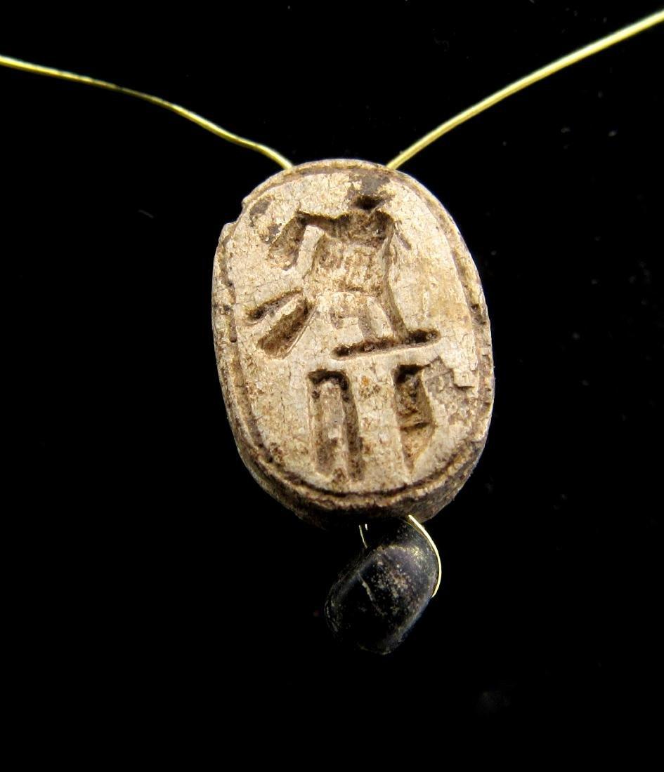 Ancient Egyptian Steatite Engraved Scarab Pendant - 2