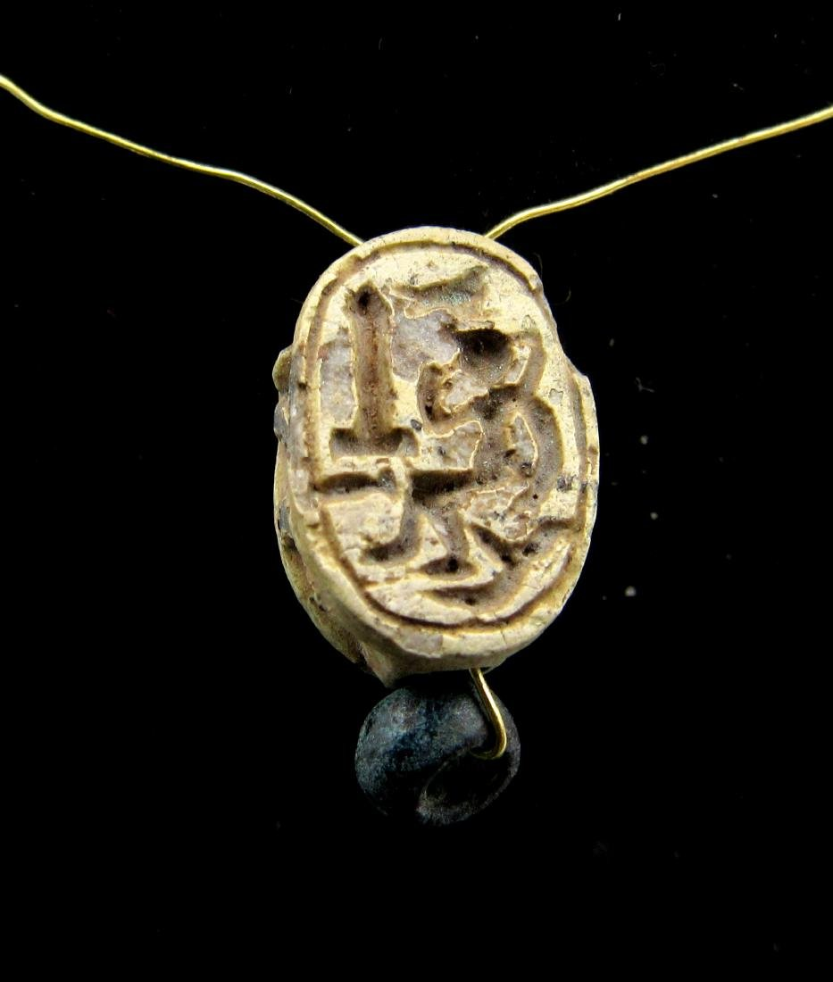 Ancient Egyptian Steatite Engraved Scarab Pendant - 2