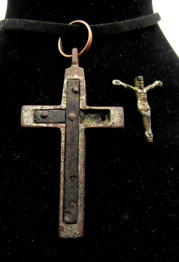 Post Medieval Silvered Bronze Cross Pendant with Wood &