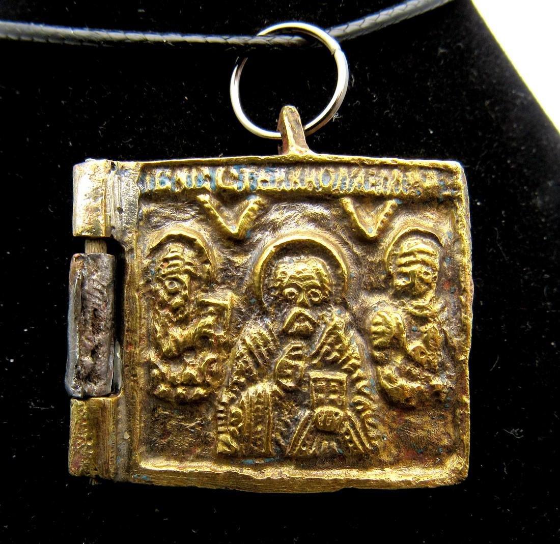 Medieval Bronze Icon with Saint Nicholas