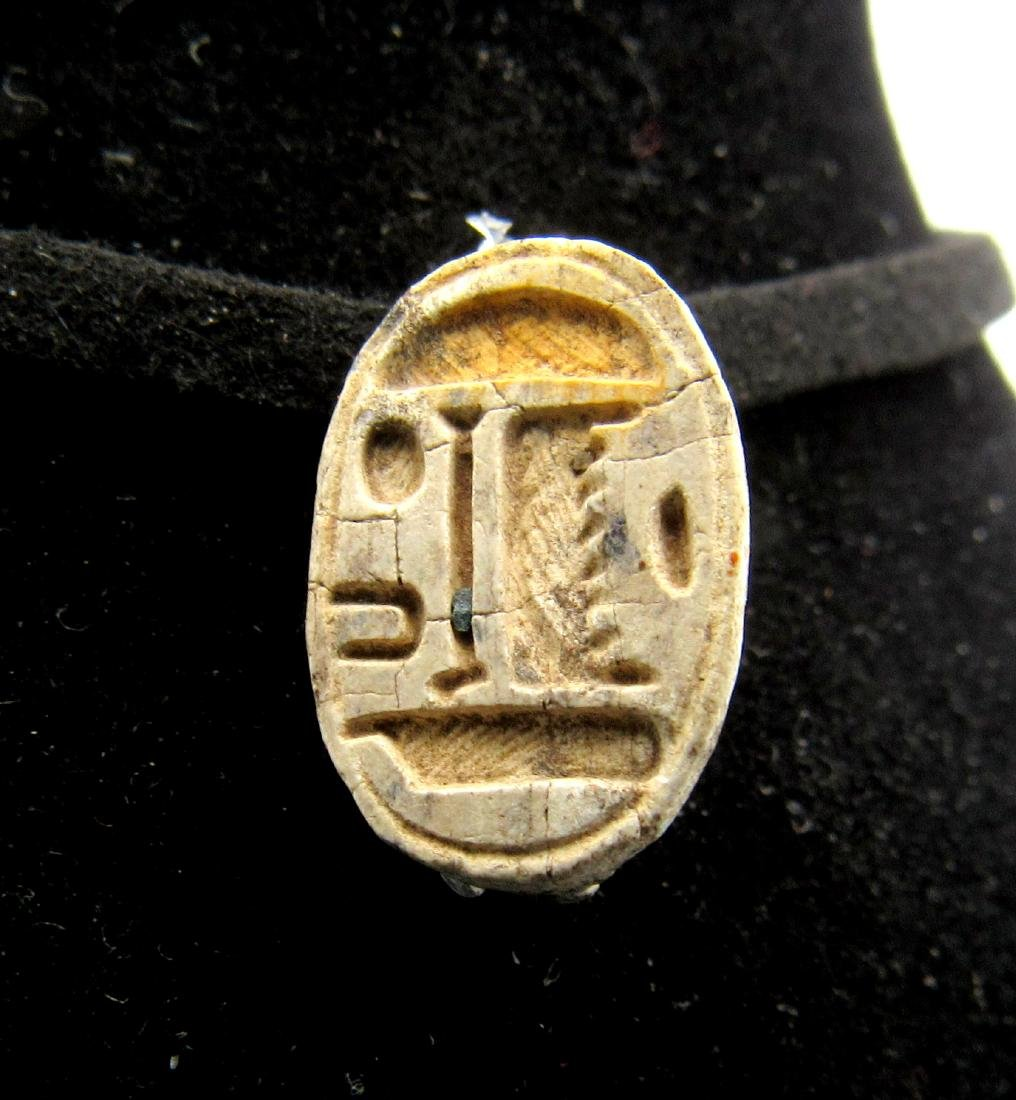 Ancient Egyptian Steatite Engraved Scarab Pendant with