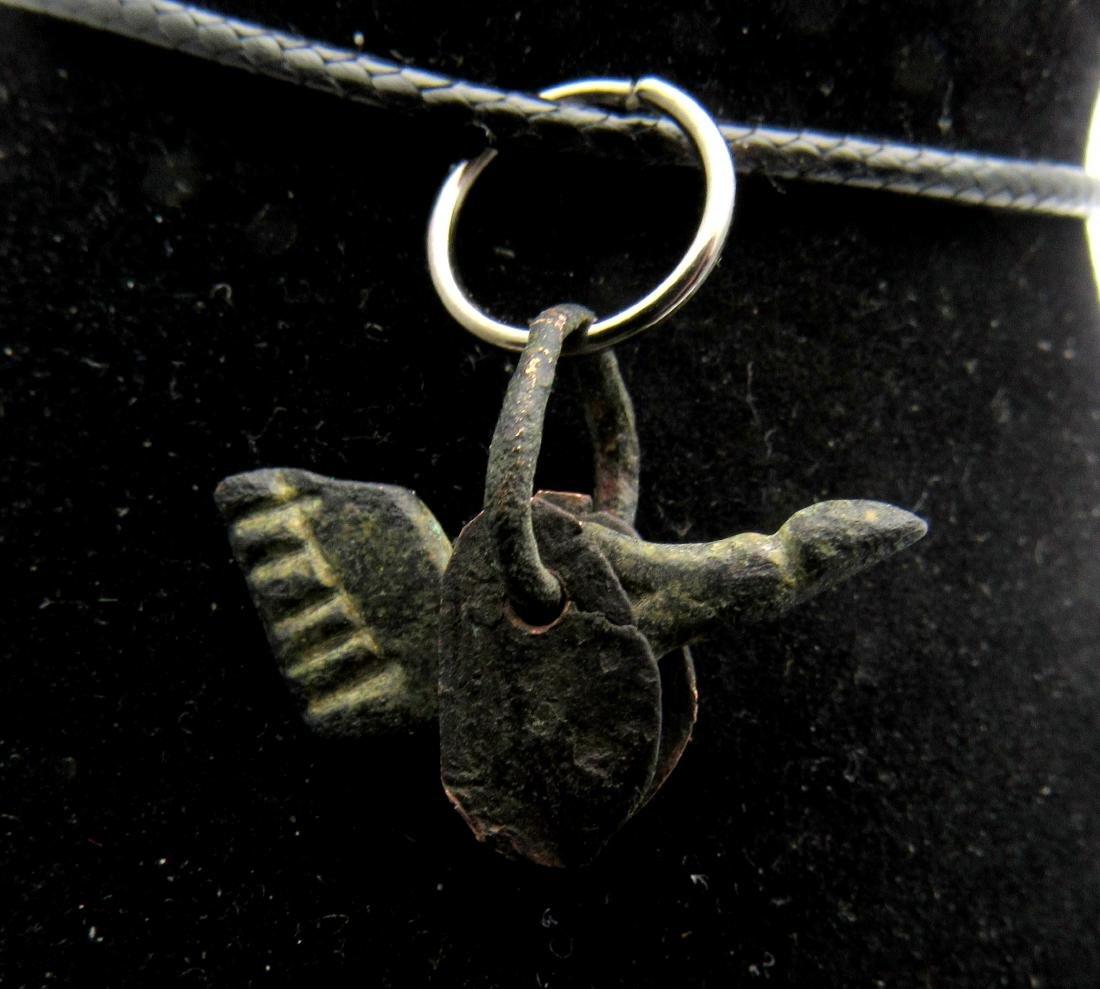 Ancient Roman Bronze Phallus with Wings Pendant