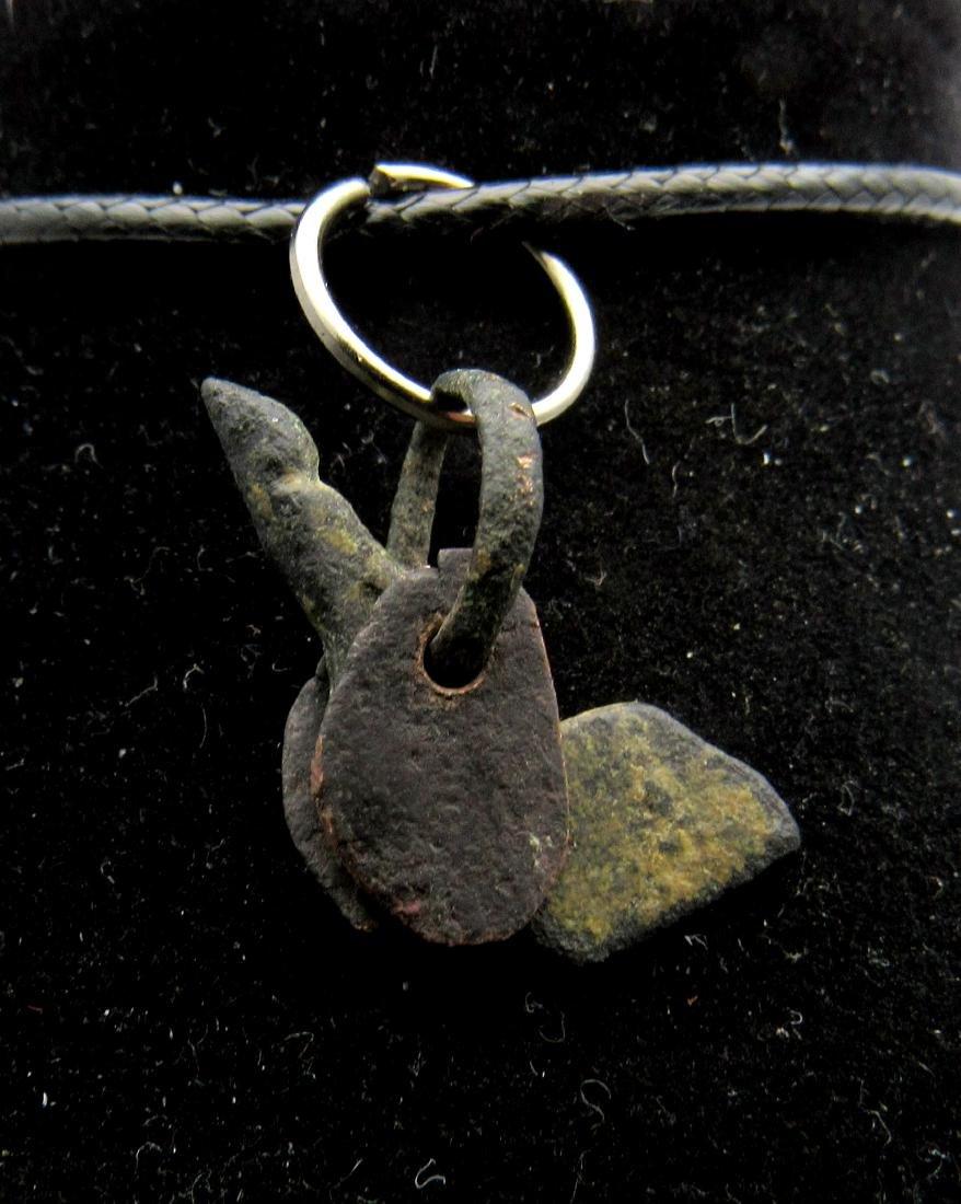 Ancient Roman Bronze Phallus with Wings Pendant - 2