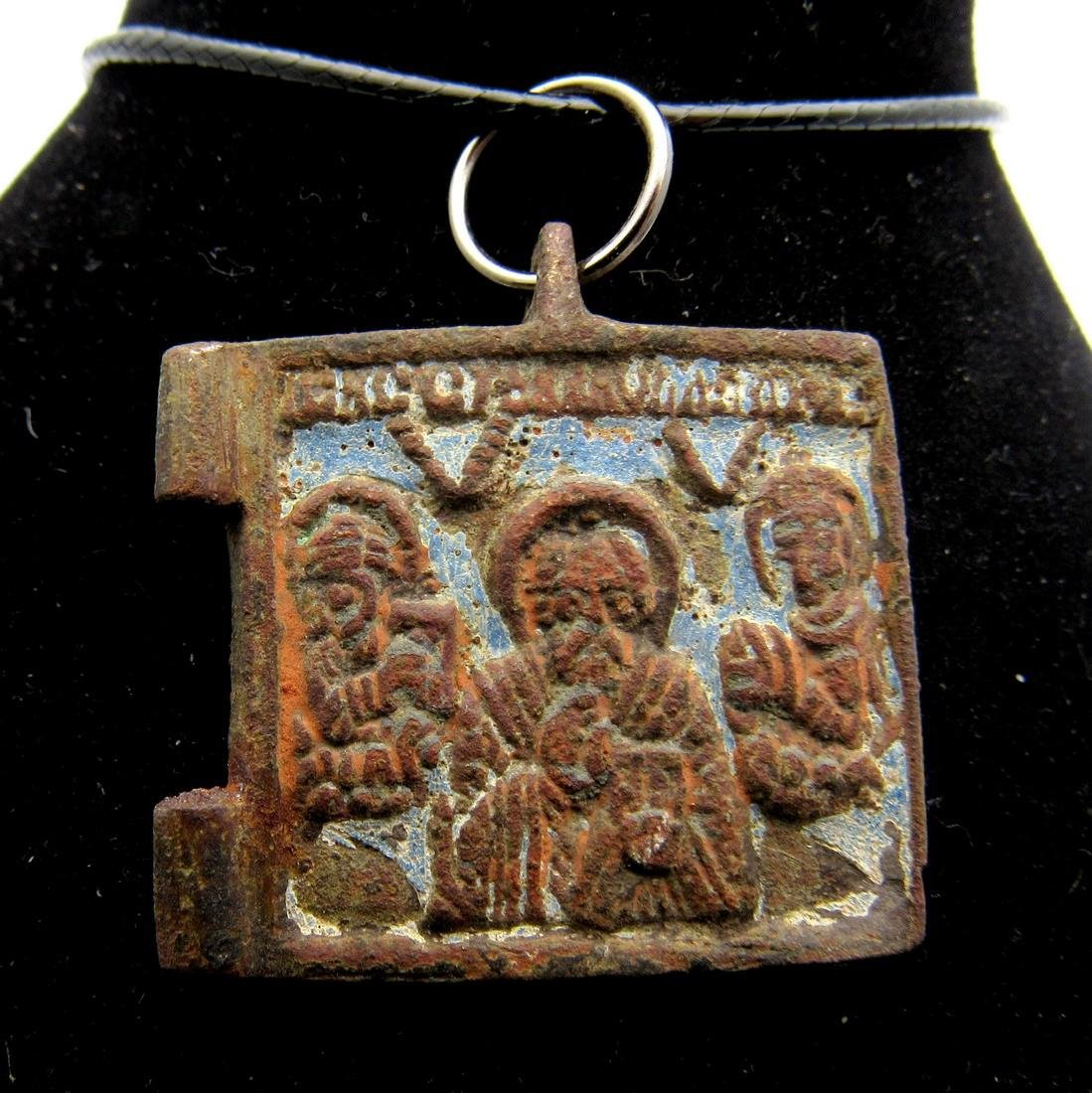 Medieval Enameled Bronze Icon with Saints