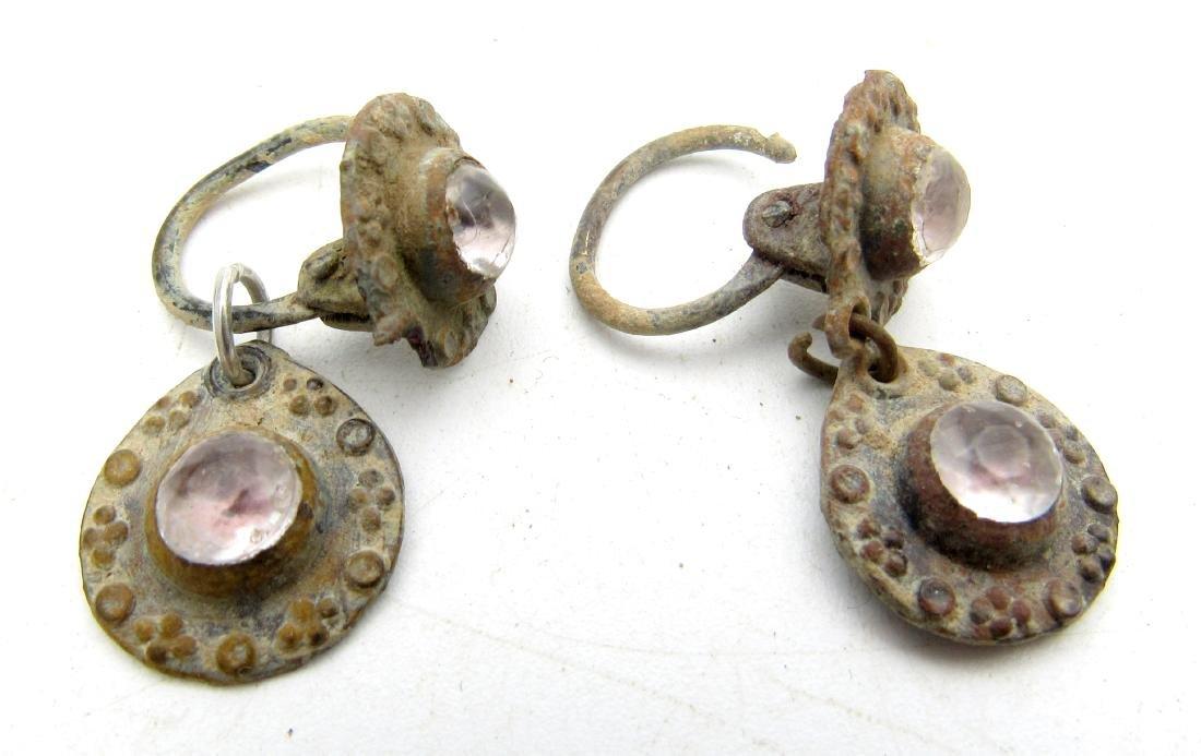 Pair of Medieval Bronze Earrings with Stones