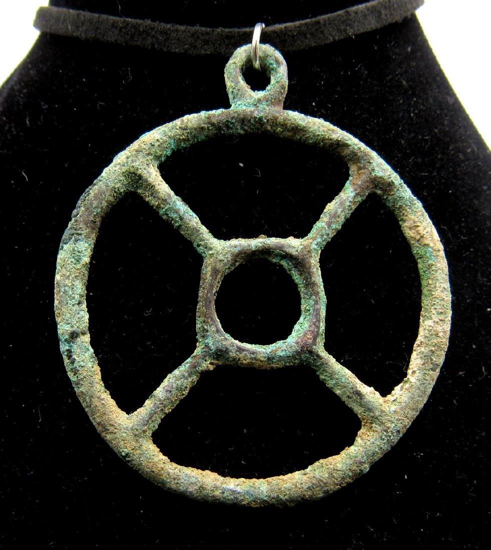 Ancient Roman Bronze Wheel of Fortune Pendant