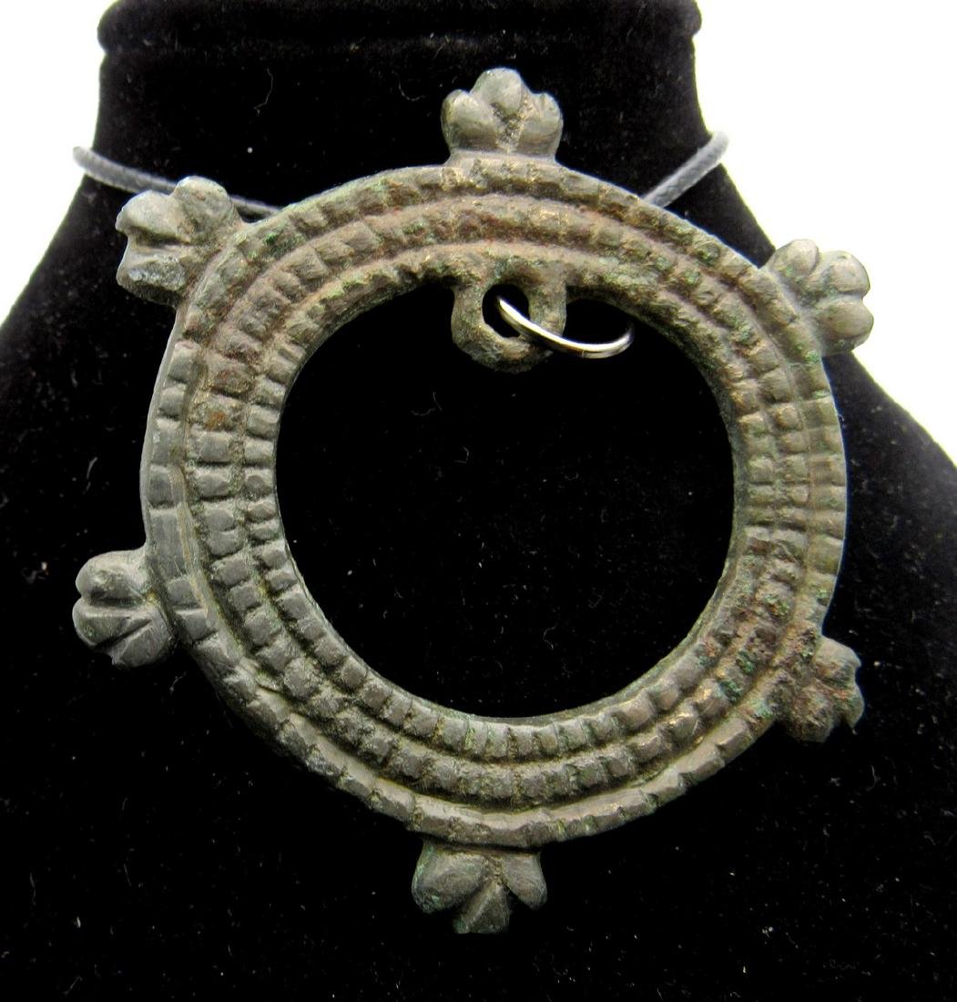 Medieval Viking Sun Amulet with Snake Heads