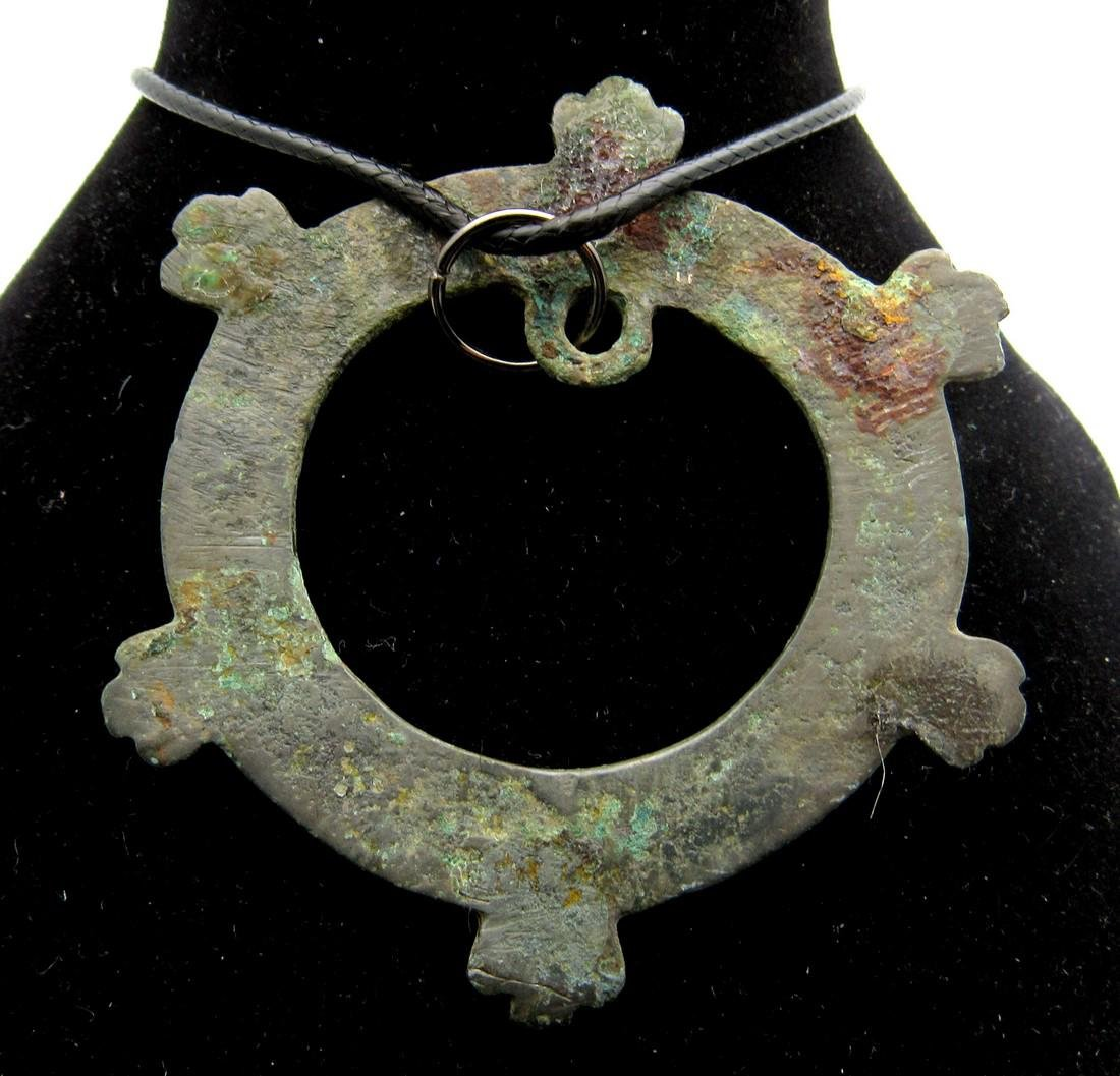 Medieval Viking Sun Amulet with Snake Heads - 2