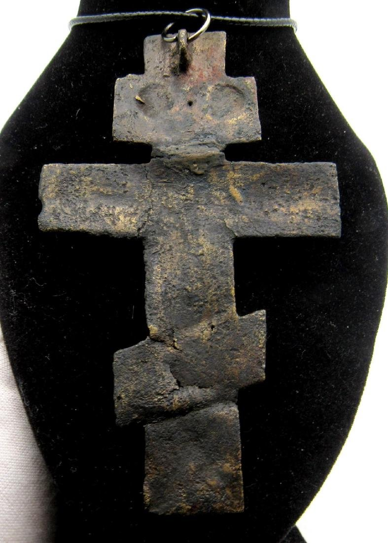Large Medieval Bronze Priests Cross Pendant with Jesus - 2