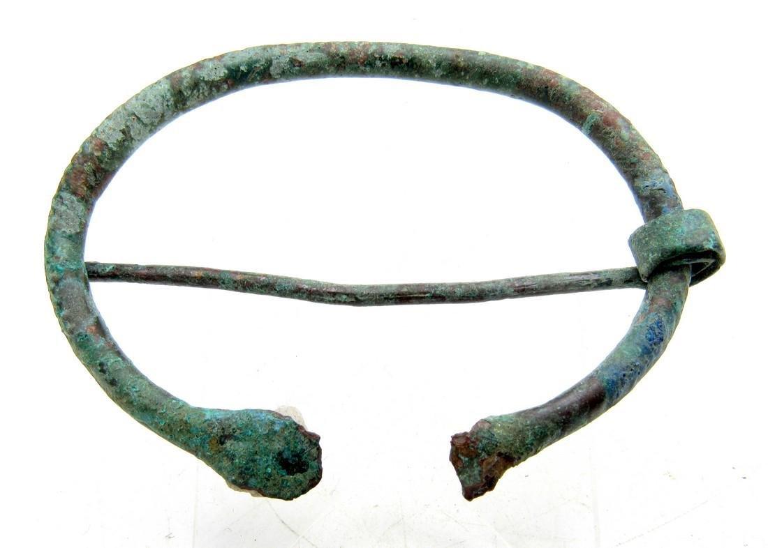 Medieval Viking Bronze Omega Brooch - 2