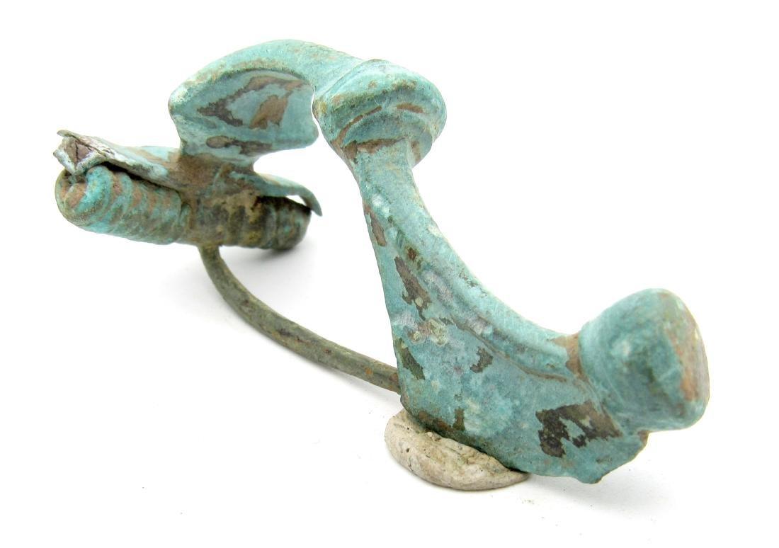 Ancient Roman Bronze Trumpet Brooch - 2