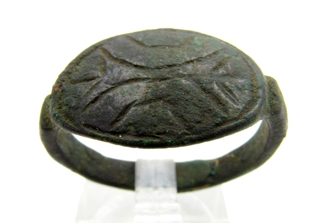 Ancient Greek Bronze Ring with Stylized Thunderbolt of
