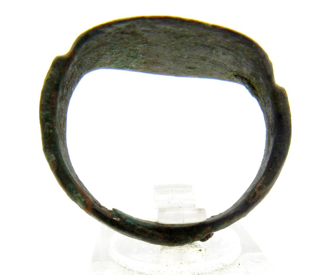 Ancient Greek Bronze Ring with Stylized Thunderbolt of - 3
