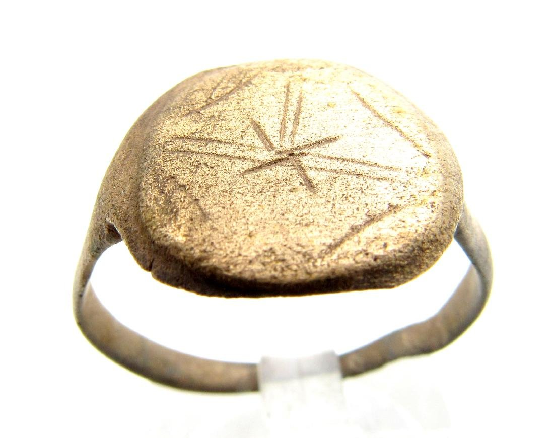 Medieval Bronze Ring with Cross Motif