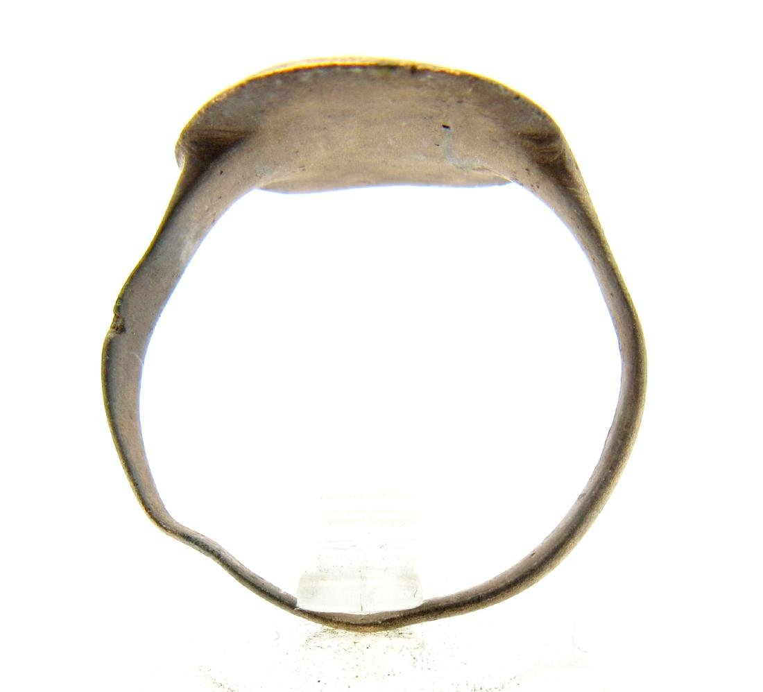 Medieval Bronze Ring with Cross Motif - 3