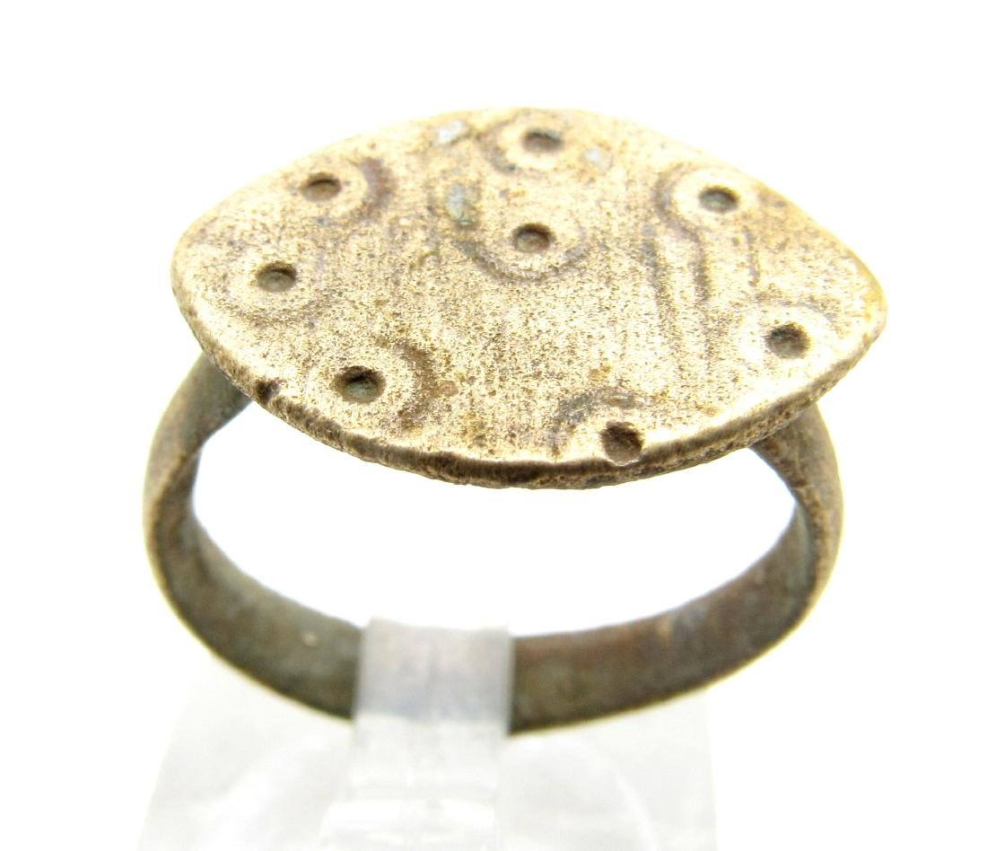 Medieval Saxon Bronze Ring with Evils Eye Motif