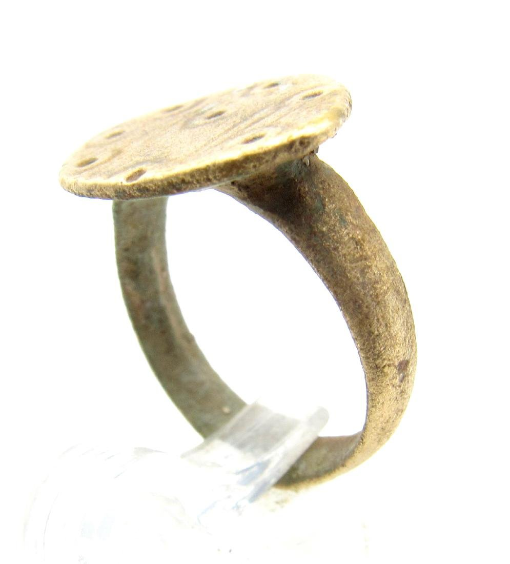 Medieval Saxon Bronze Ring with Evils Eye Motif - 2