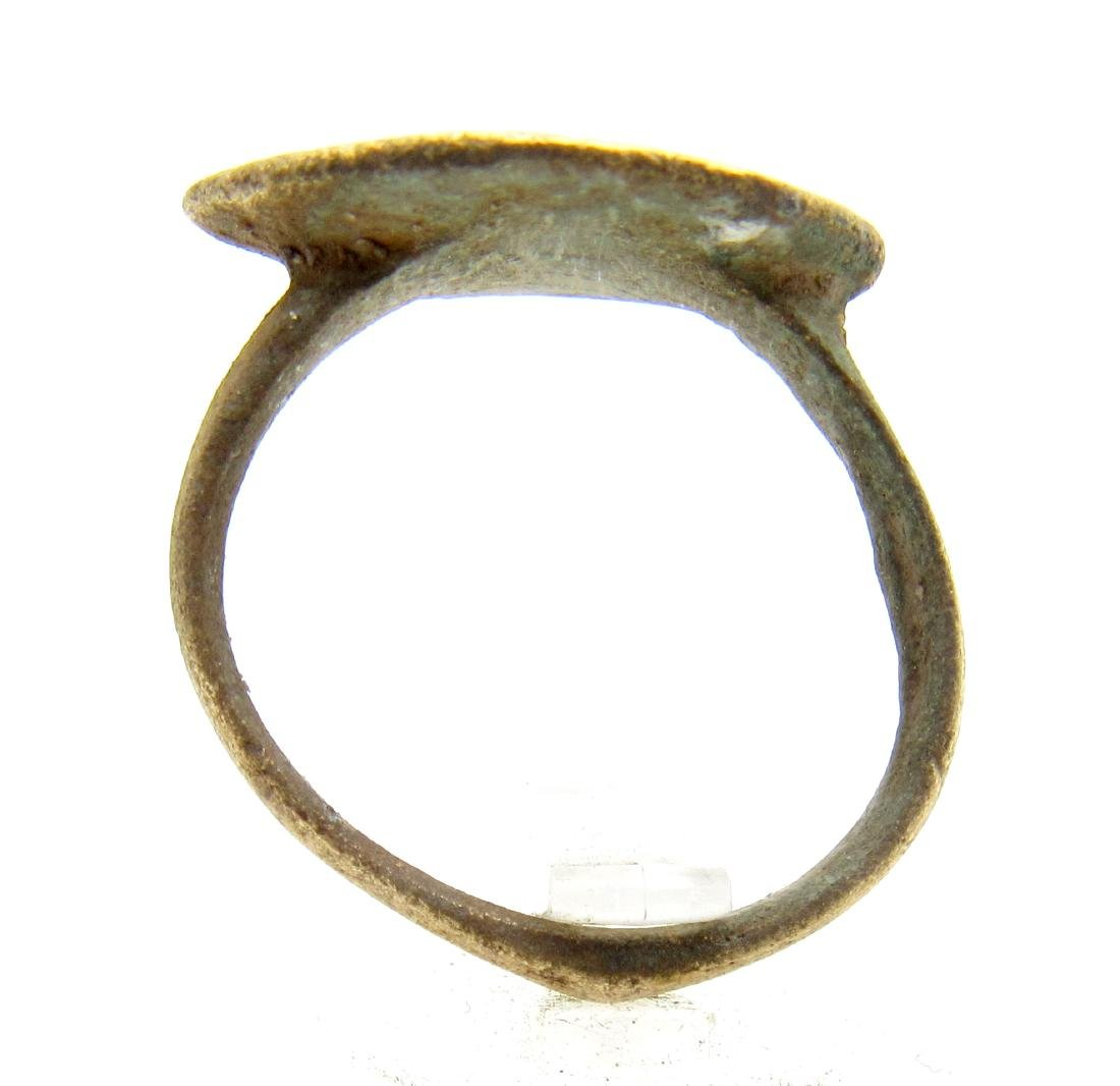 Medieval Saxon Bronze Ring with Evils Eye Motif - 3