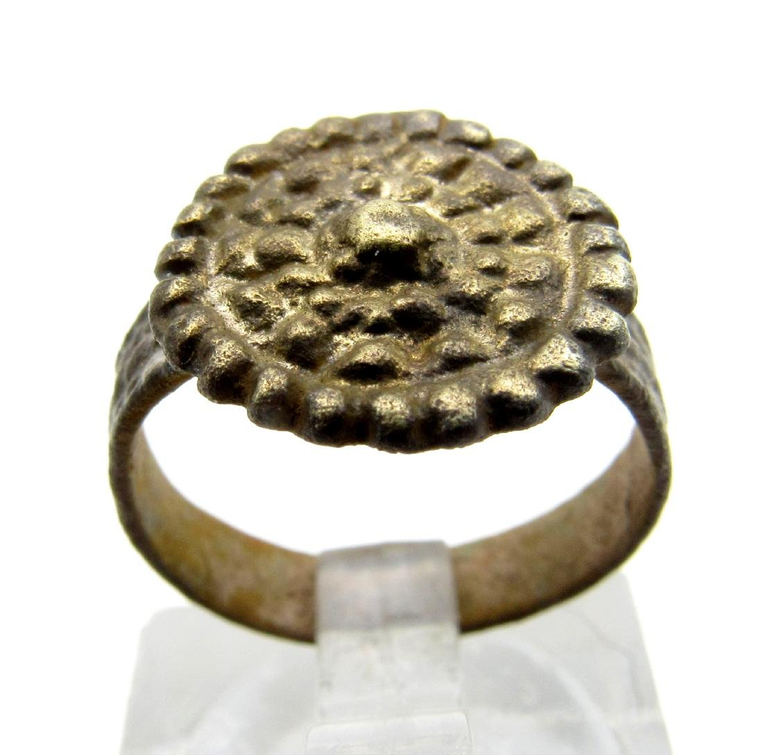 Late Medieval Tudor Bronze Ring with Crown Bezel