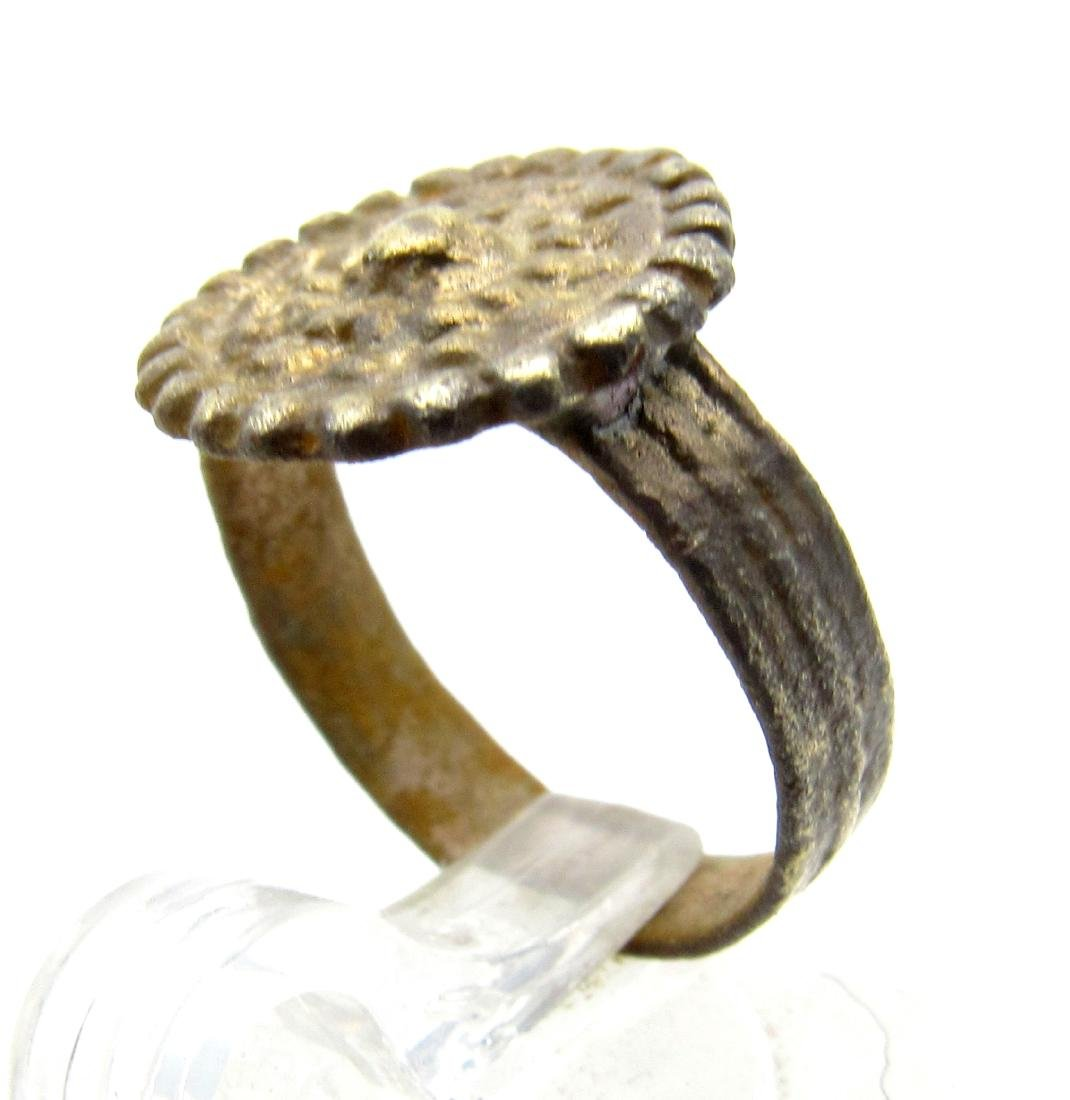 Late Medieval Tudor Bronze Ring with Crown Bezel - 2