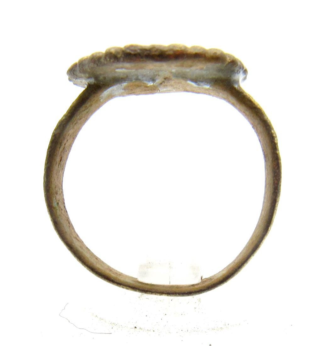 Late Medieval Tudor Bronze Ring with Crown Bezel - 3