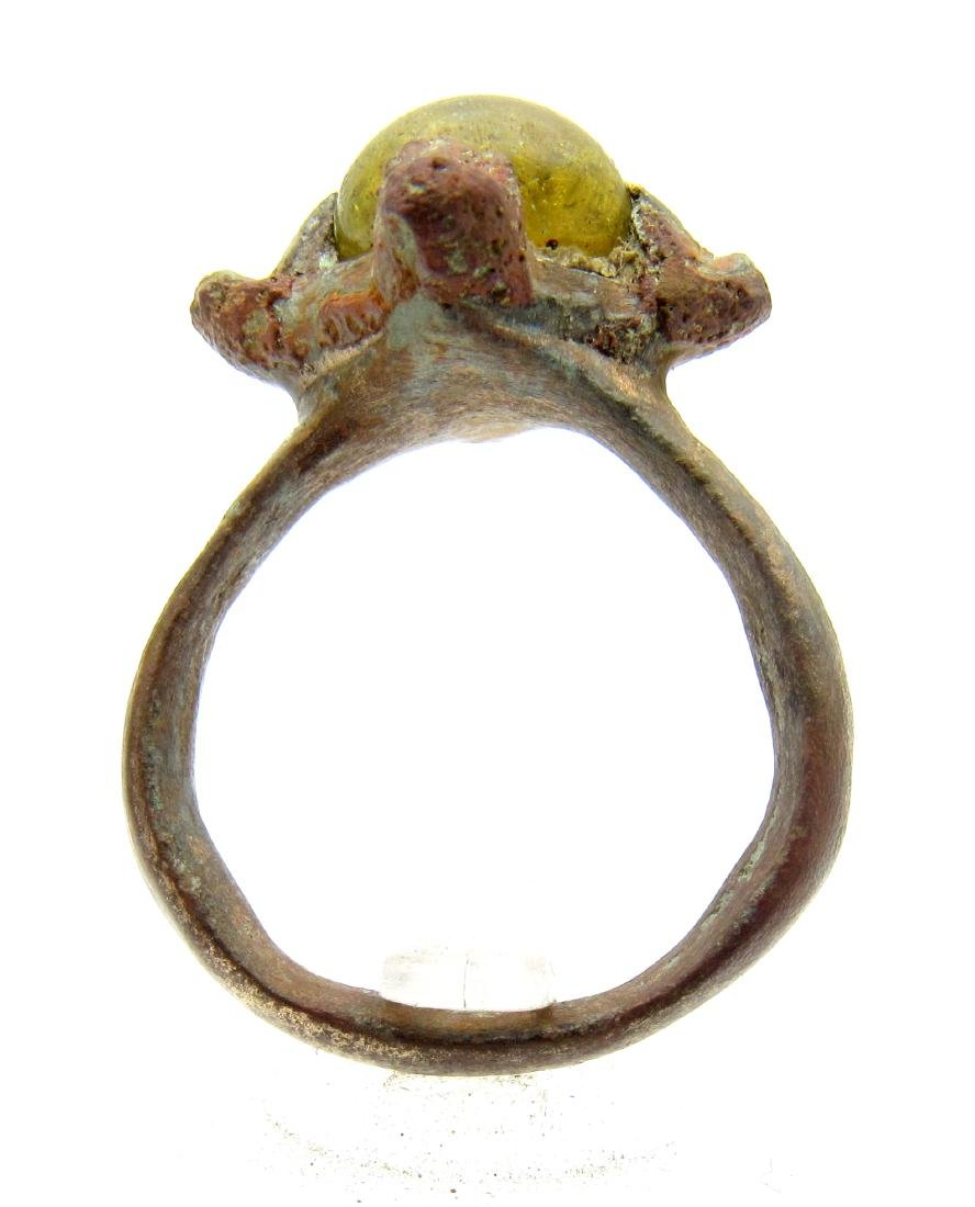 Medieval Viking Bronze Ring with Stone - 3