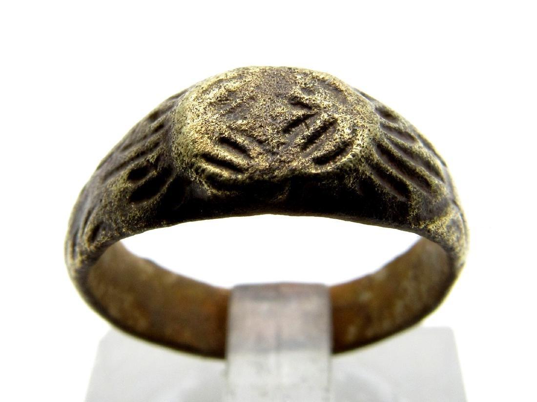 Medieval Viking Bronze Ring with Dragons Eye Motif