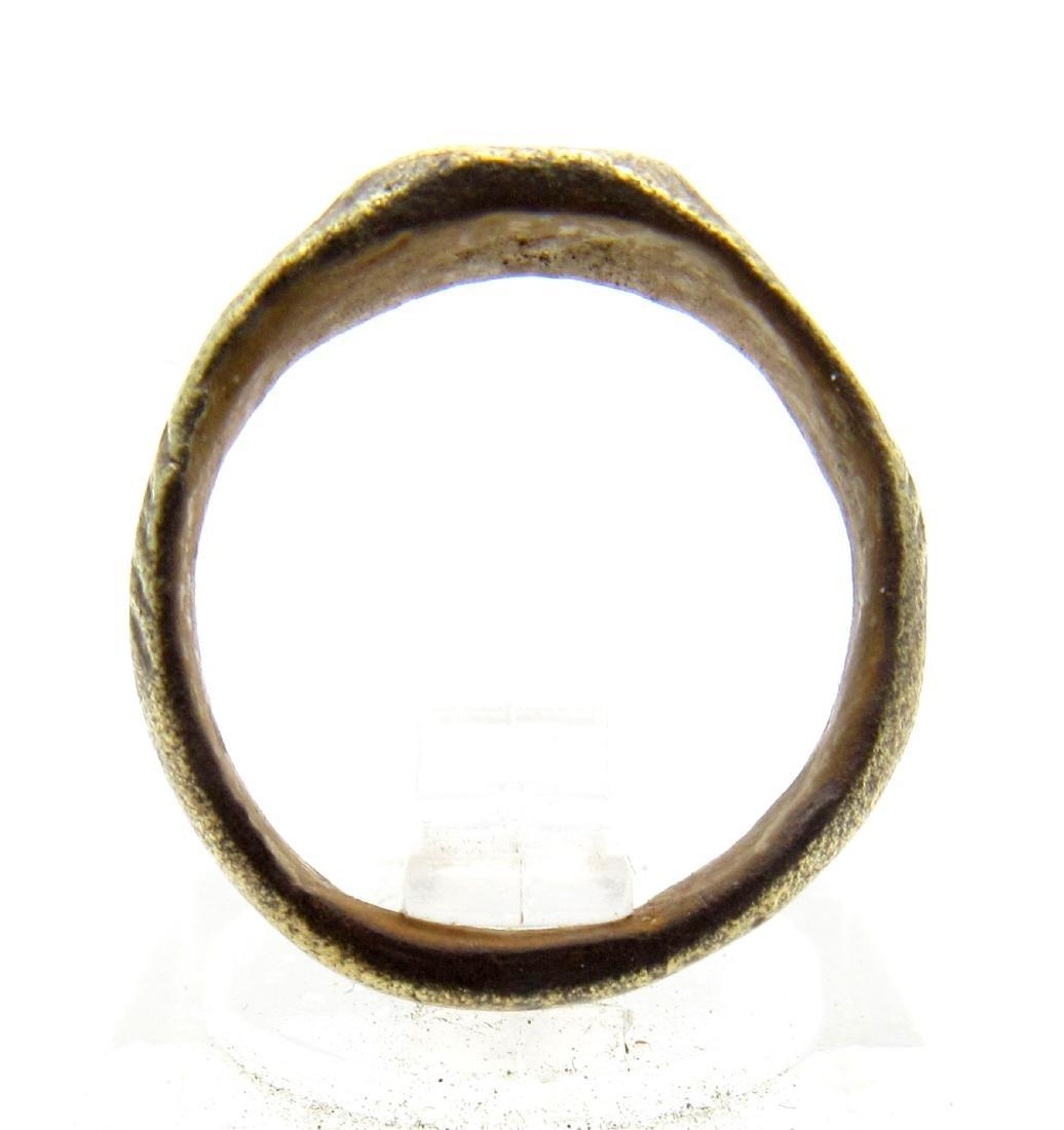 Medieval Viking Bronze Ring with Dragons Eye Motif - 3