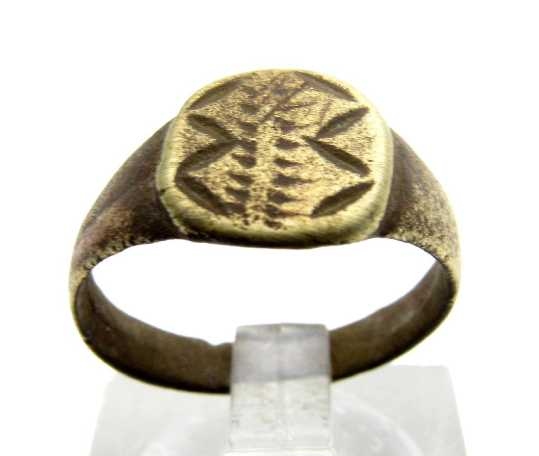 Ancient Roman Bronze Stylized Snakes Ring