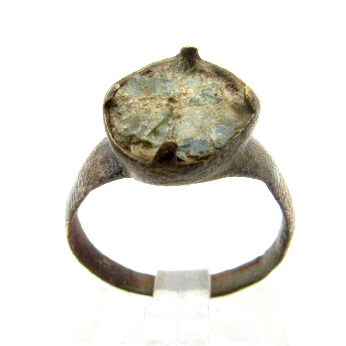 Medieval Bronze Ring with Broken Stone