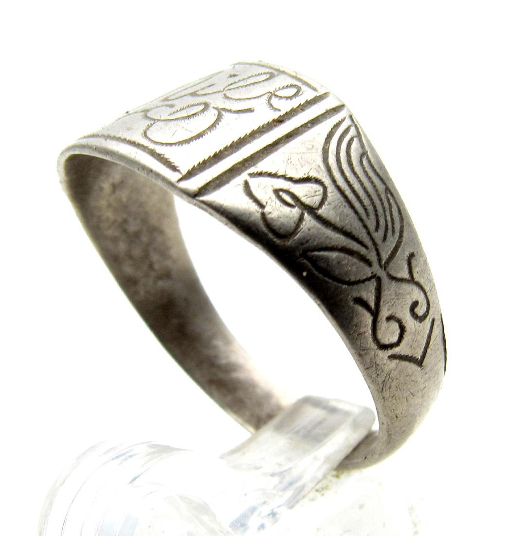 Post Medieval Silver Ring Engraved with Personal Name - 2