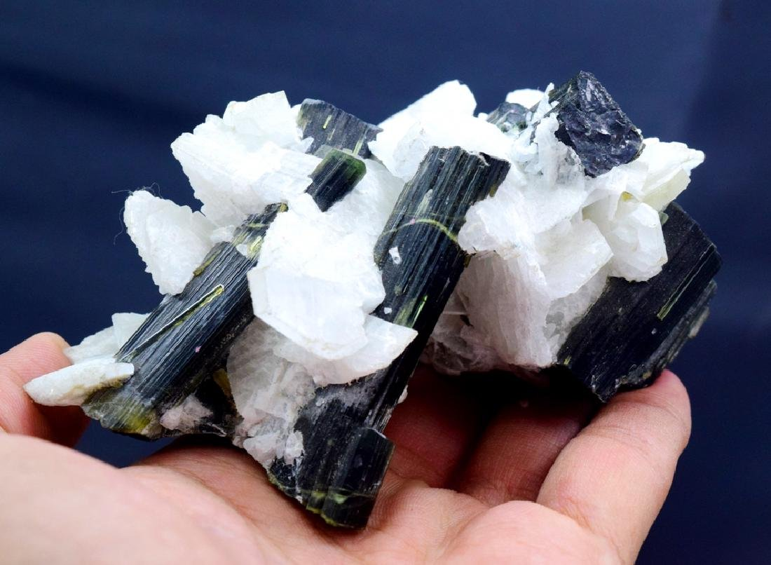 190 Gram Green Cap Tourmaline Crystals with - 4