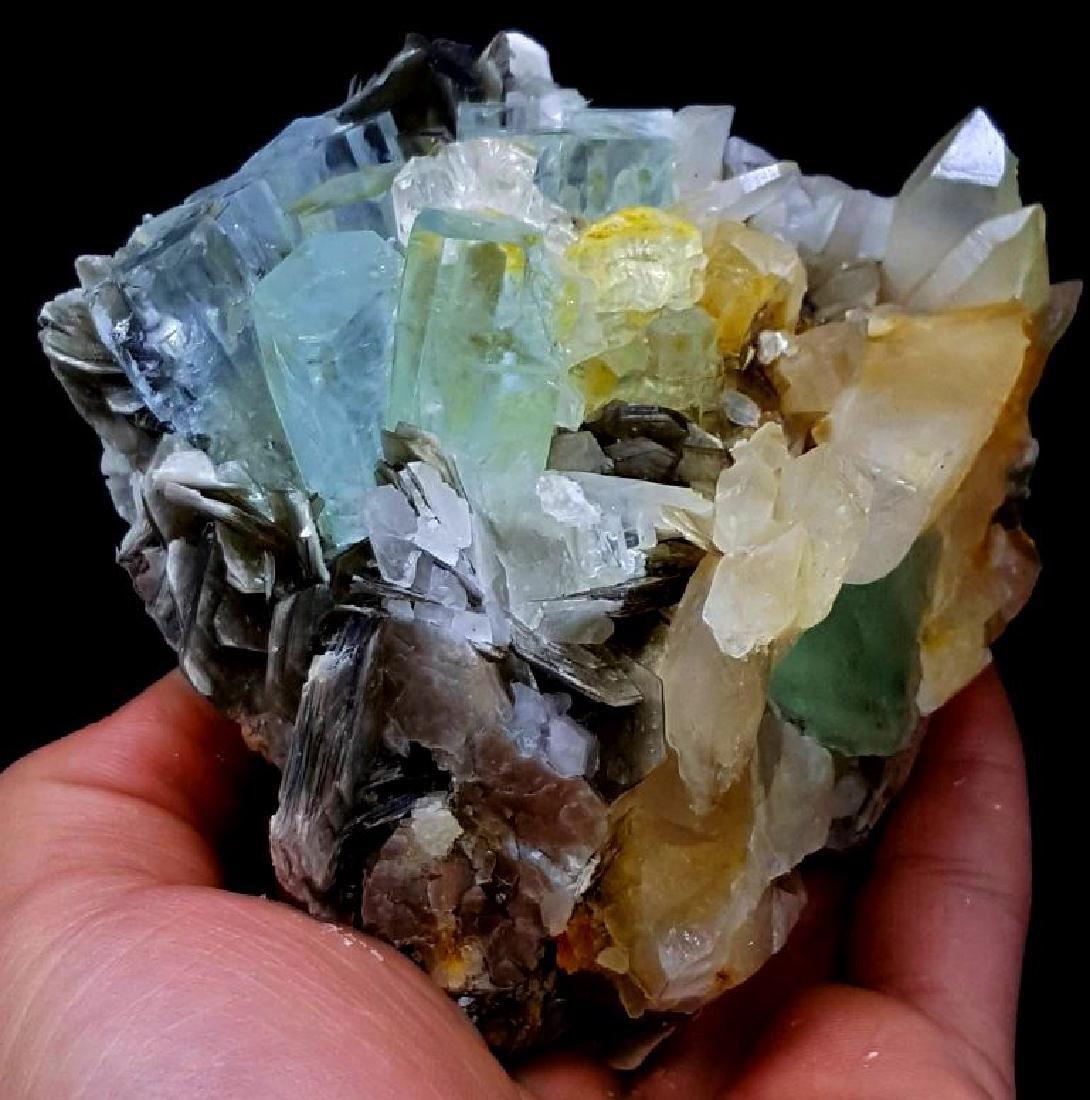 Aquamarine Crystals with Fluorite , Quartz and