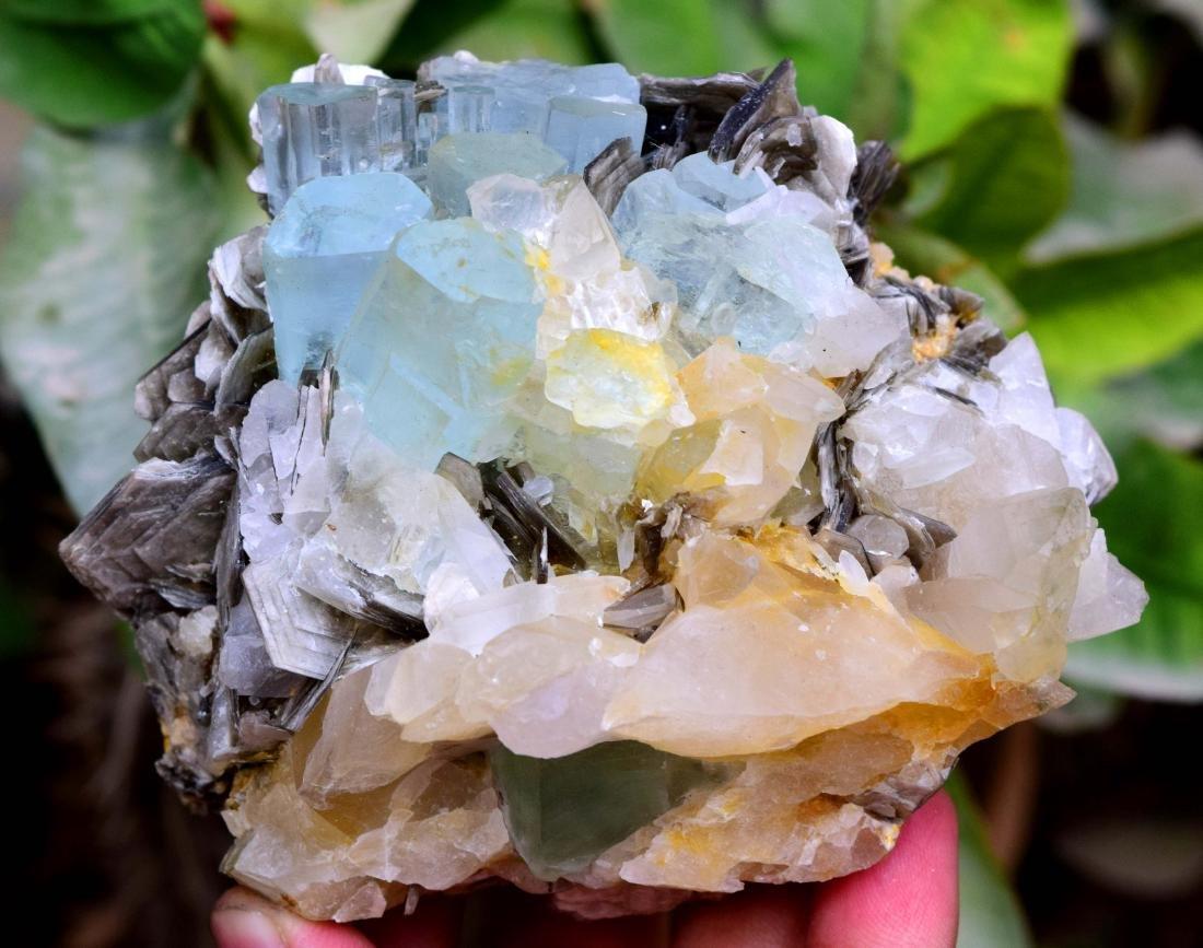 Aquamarine Crystals with Fluorite , Quartz and - 3