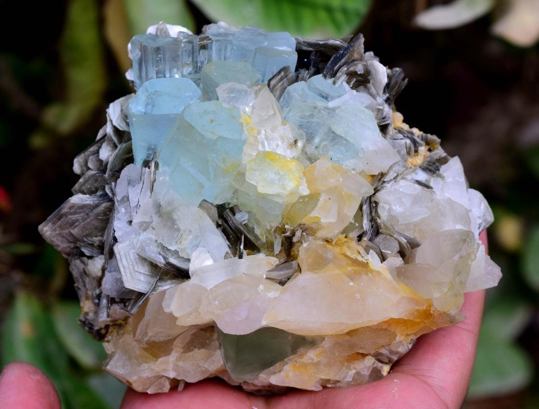 Aquamarine Crystals with Fluorite , Quartz and - 4