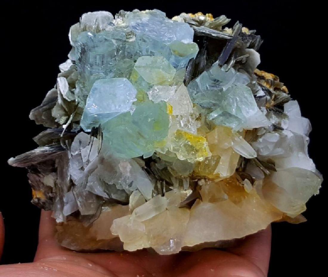 Aquamarine Crystals with Fluorite , Quartz and - 5