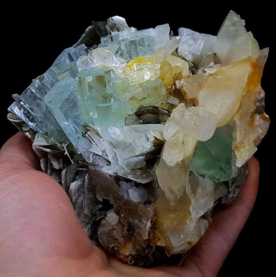 Aquamarine Crystals with Fluorite , Quartz and - 6