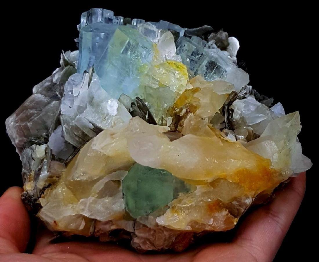 Aquamarine Crystals with Fluorite , Quartz and - 7